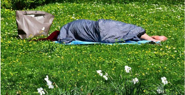 草むらに寝るホームレス